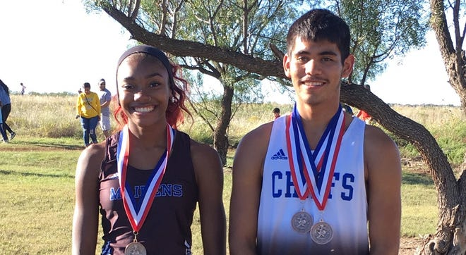 Lake View's Jade Parker, left, and Jesus Espinoza were Top 10 finishers at the District 5-4A cross country meet Wednesday, Oct. 10 2018, in Snyder.