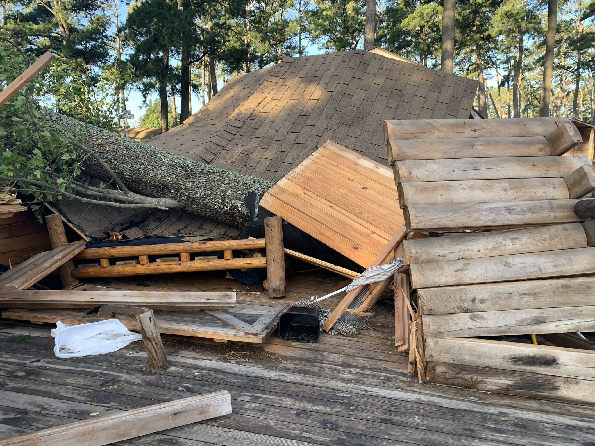 A fallen tree caused extensive damage to a structure at  Cherrystone Family Camping Resort in Cape Charles.