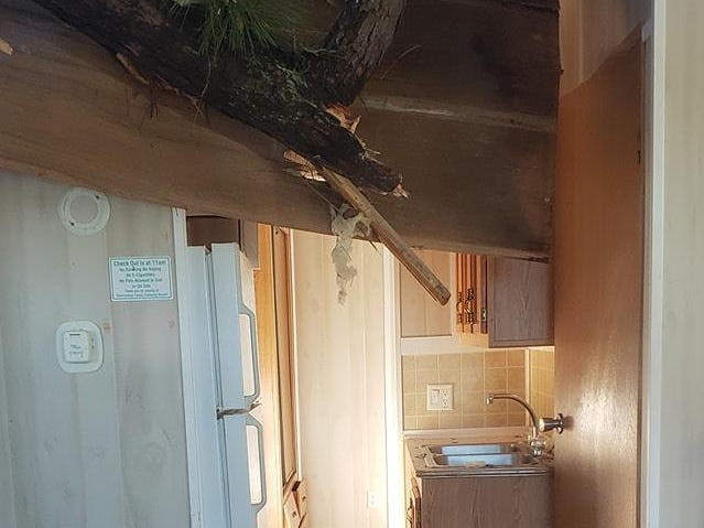 Damage to a cabin at the  Cherrystone Family Camping Resort in Cape Charles.