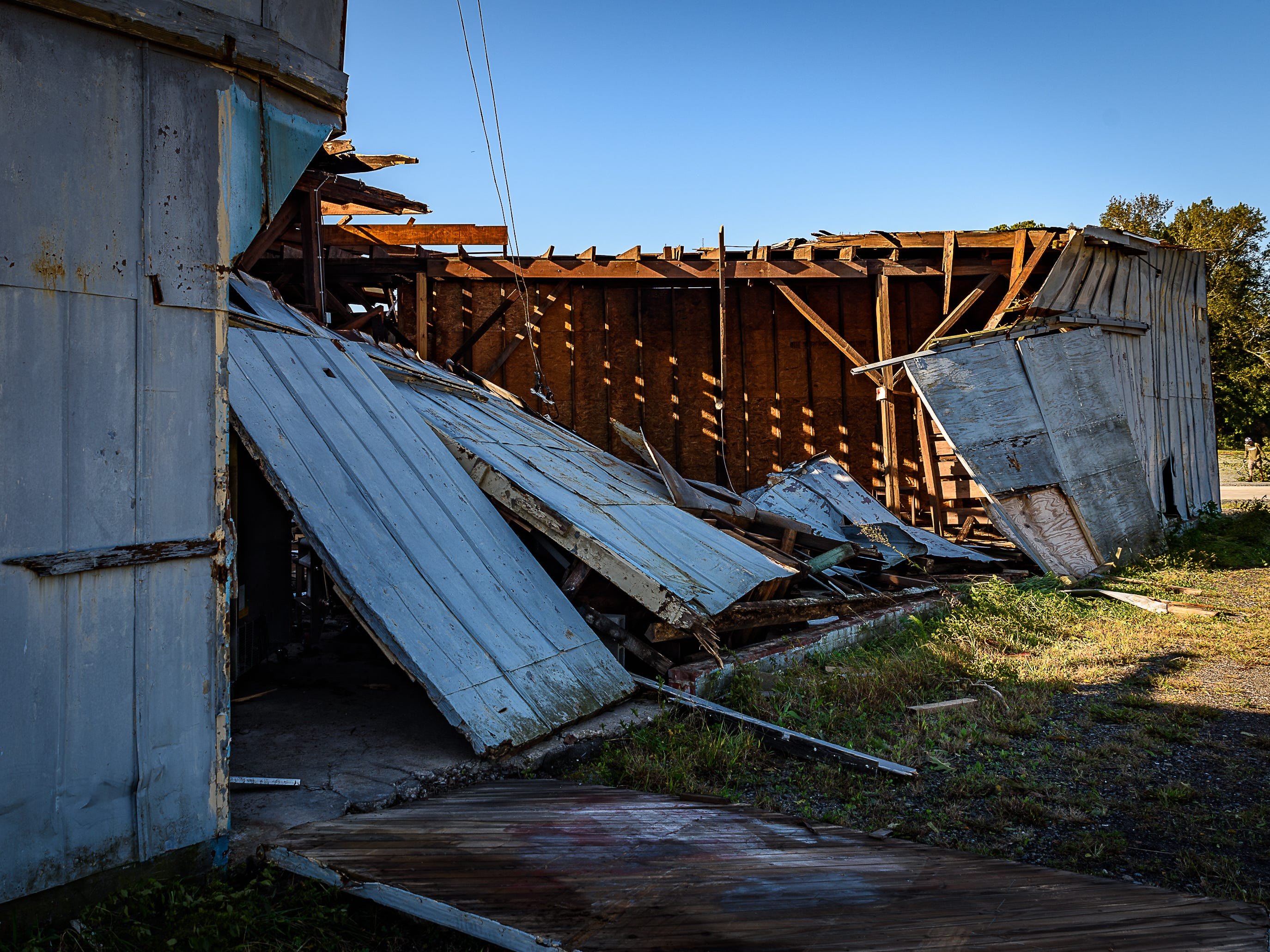 A building at The Cape Charles Brewing Company was almost totally destroyed during the storm on Oct. 12, 2018.