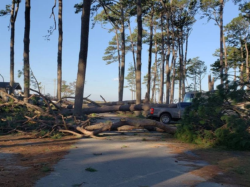 The Cherrystone Family Camping Resort in Cape Charles suffered serious damage as Tropical Storm Michael roared through the region Thursday night.