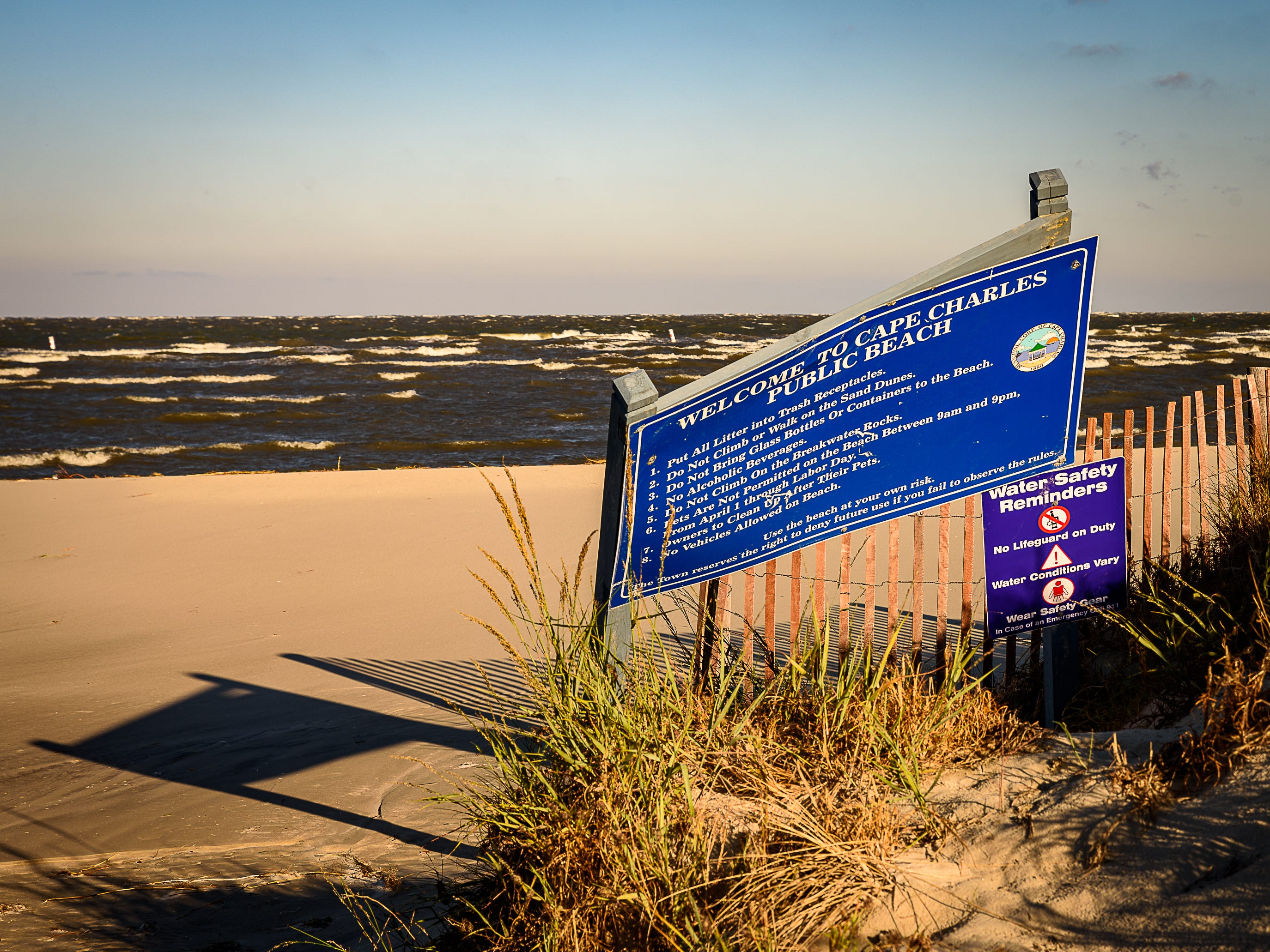 The sign at Cape Charles Beach suffered damage from an overnight storm on Oct. 12, 2018.