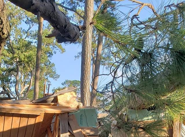 Some structures at the Cherrystone Family Camping Resort in Cape Charles were destroyed by falling trees as Tropical Storm Michael swept through the region.