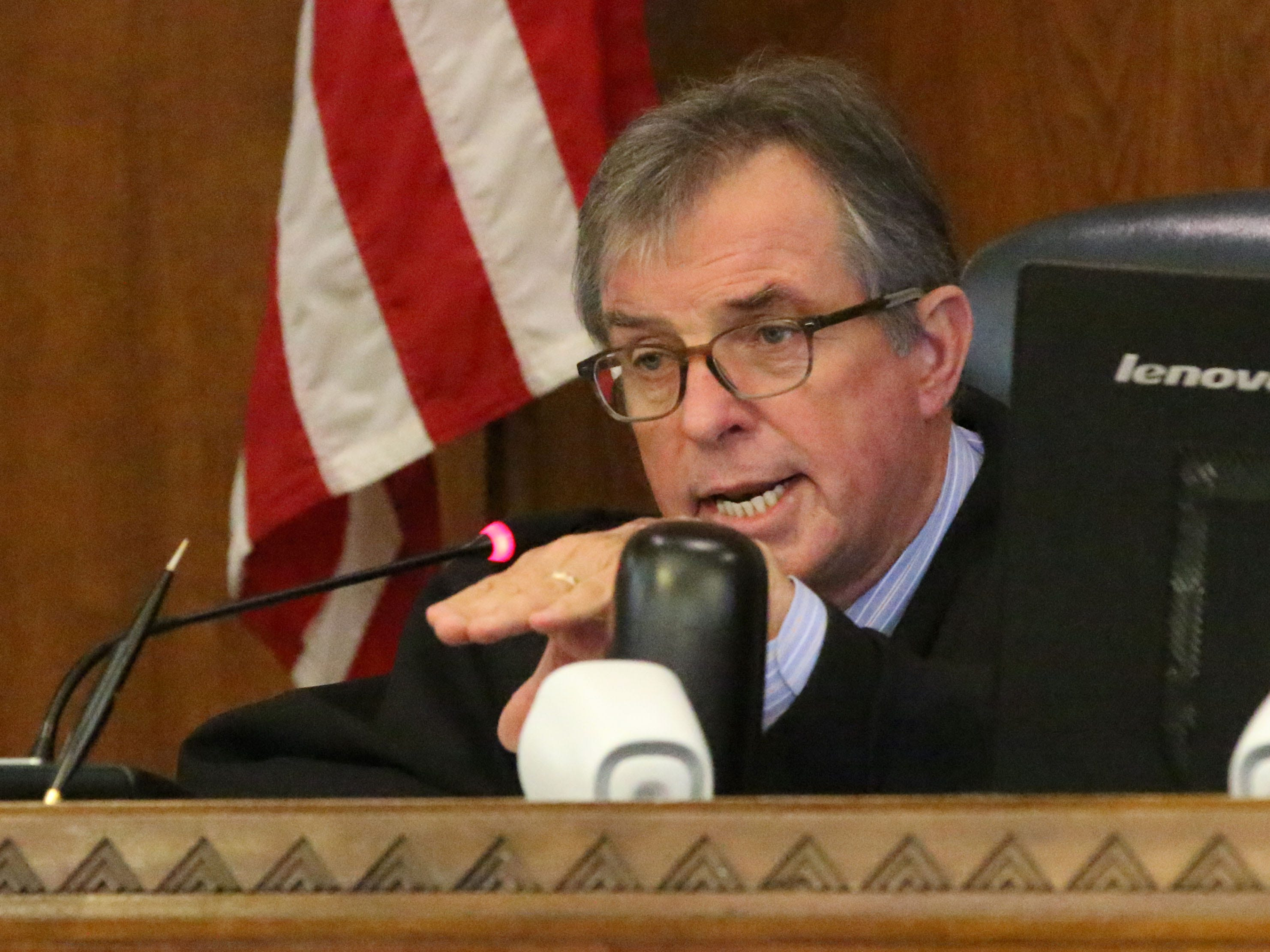 Sheboygan County Circuit Court Judge L. Edward Stengel speaks during the sentencing hearing for Anthony James Keyport, Friday, October 12, 2018, in Sheboygan, Wis. Keyport was given jail and probation for his involvement in the Kinship Companions kennel case.