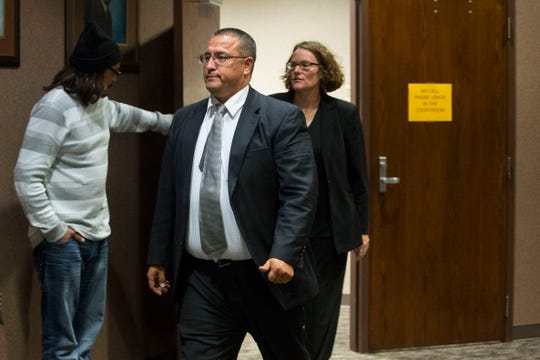 Stacy Phelps walks out of the courtroom Thursday, Oct. 11, 2018 in Sioux Falls, S.D.