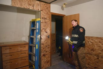 Sioux Falls Fire Chief Brad Goodroad gives a tour of one of the training center buildings Thursday, Oct. 11, at the South Dakota Air National Guard.