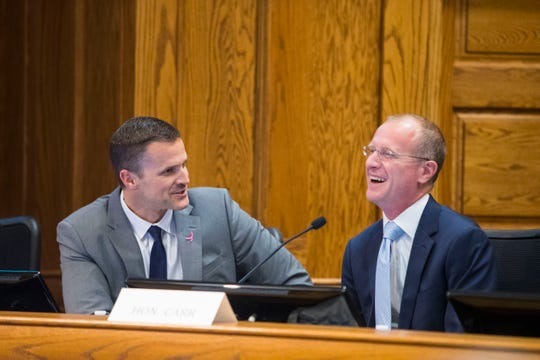 Mayor Paul TenHaken speaks with Brendan Carr, Commissioner of the Federal Communications Commission, at a hearing at Carnegie Town Hall Friday, Oct. 12, 2018 in Sioux Falls, S.D.