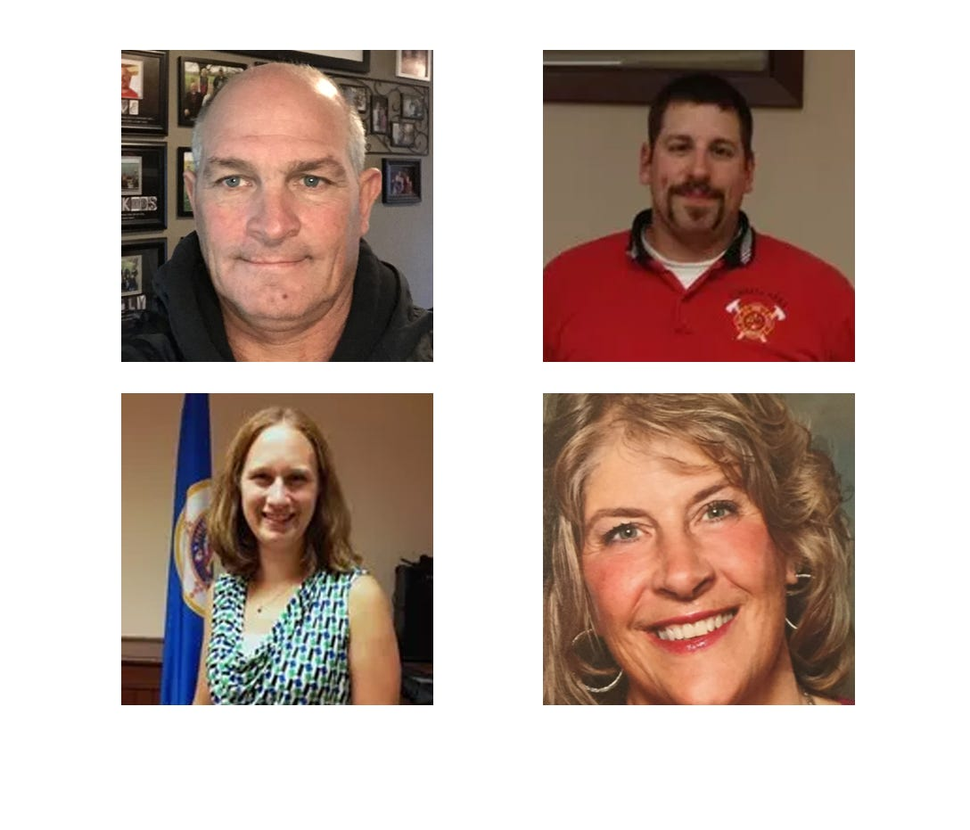 Clockwise from top left: Kyle Christensen, Aaron Dahlinger (incumbent), Cindy Stelten and Megan Kiffmeyer (incumbent) are running for two available seats on the Kimball City Council.