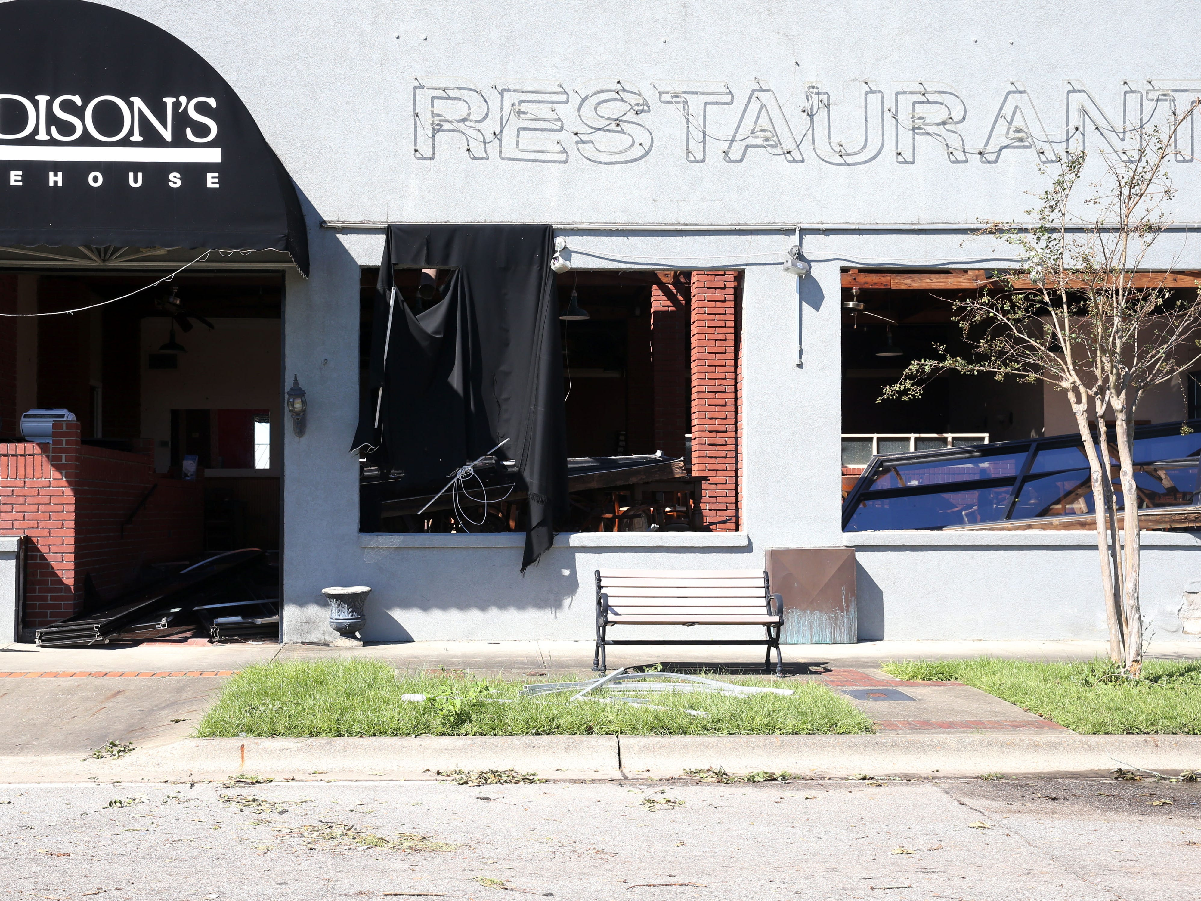 At Madison's Warehouse, a restaurant located in downtown Marianna, Fla. on Friday, Oct. 12, 2018, the restaurant was left in pieces after Hurricane Michael rips through the panhandle.