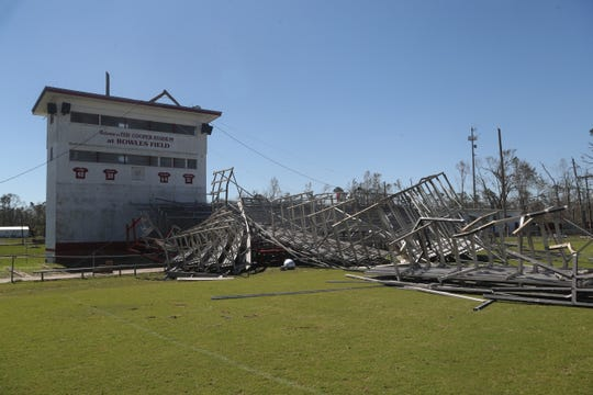The stands on the football field at Blountstown High School in the aftermath of Hurricane Michael on Friday, Oct. 12, 2018.