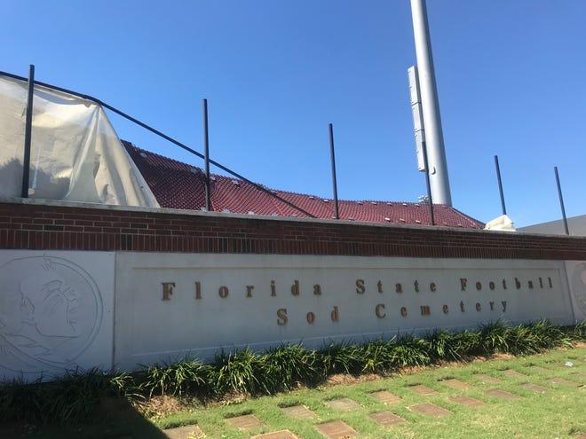 The damaged fence surrounding FSU football's practice fields.