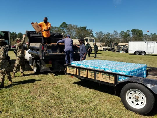 Meals and water packages were loaded onto a truck headed to the city of Midway Friday afternoon at the Gadsden County Jail.
