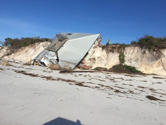 This photo taken by Dog Island resident Bradlee Shanks shows the remains of a beachfront house on Dog Island built by Florida Gov. LeRoy Collins.