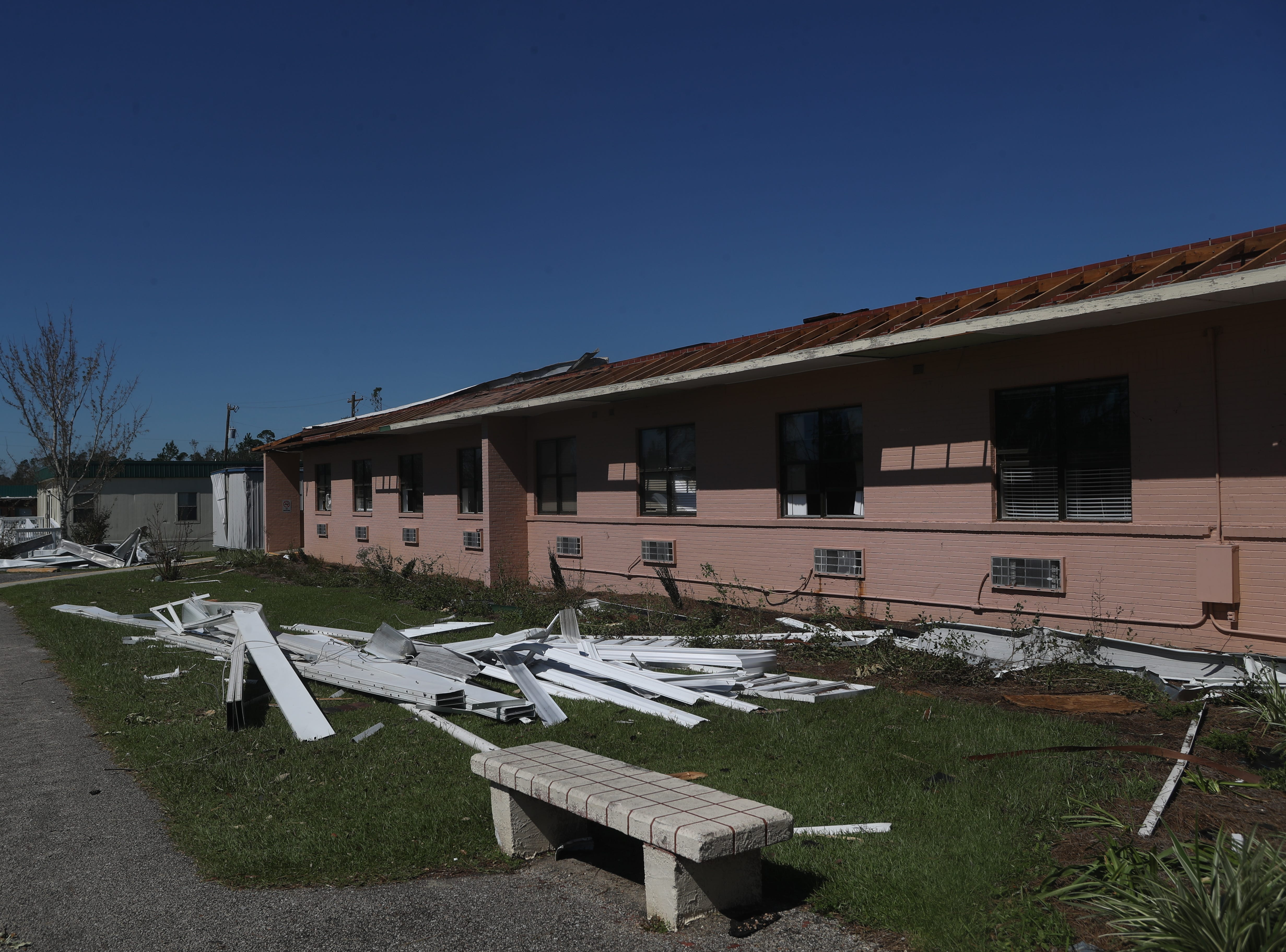 The Calhoun Liberty Hospital in Blountstown, Fla. is heavily damaged in the aftermath of Hurricane Michael Friday, Oct. 12, 2018.