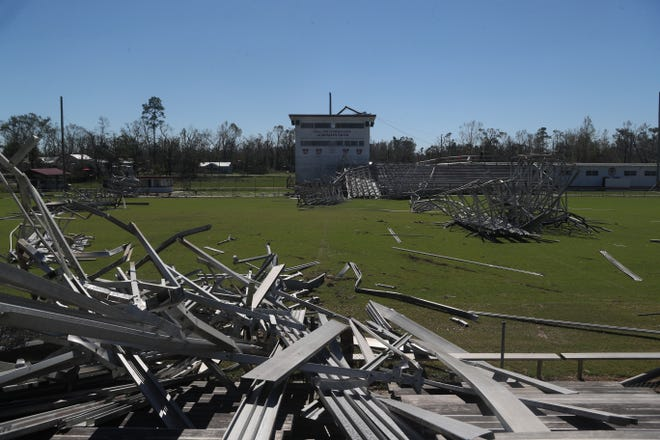 Blountstown High School's football field was destroyed in the aftermath of Hurricane Michael Friday, Oct. 12, 2018.