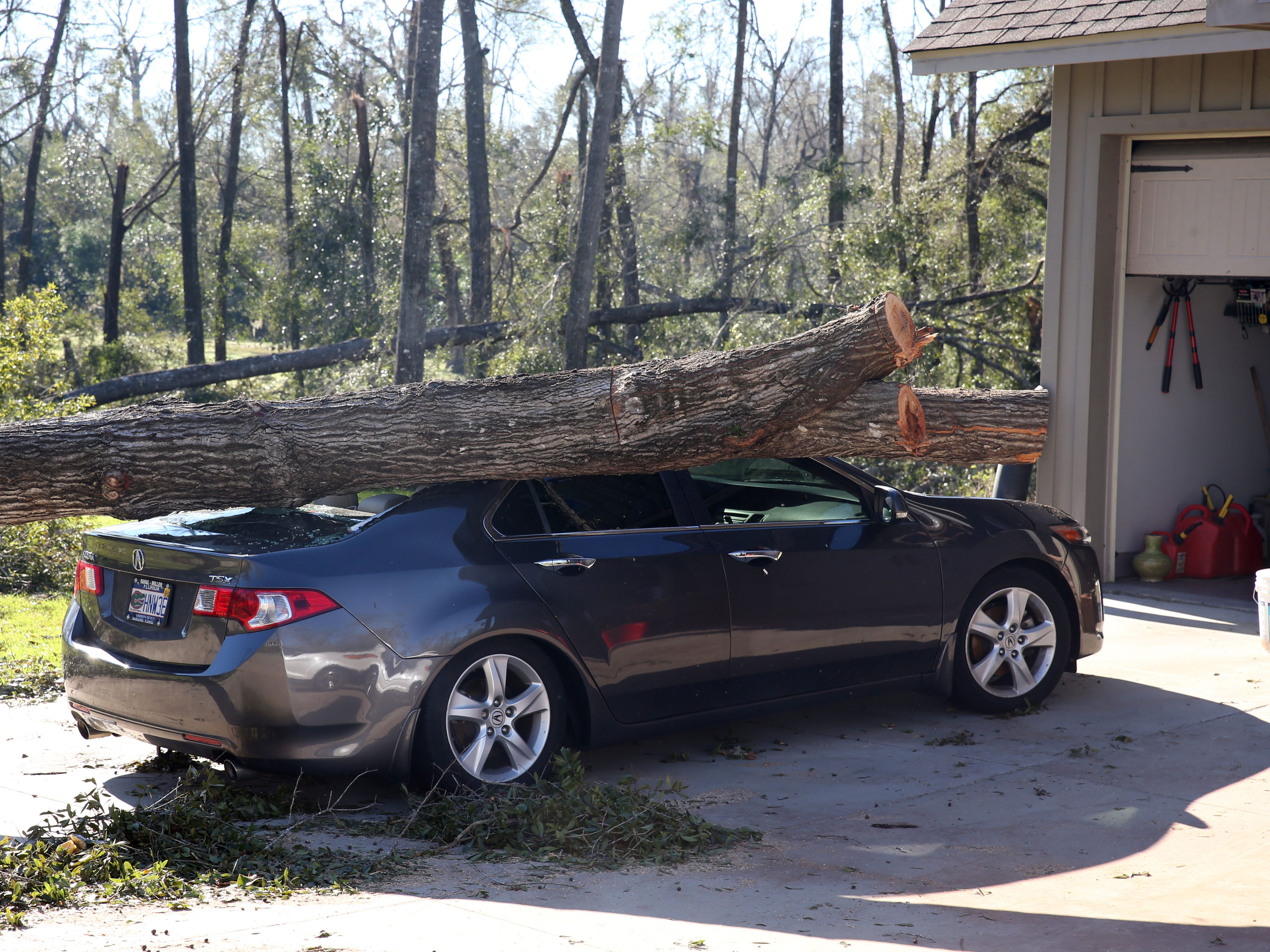 A car is left crushed under the weight of an oak tree in Marianna, Fla. on Friday, Oct. 12, 2018, after Hurricane Michael rips through the panhandle.