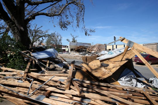 Barne's Tire & Supply in Marianna, Fla. on Friday, Oct. 12, 2018, is without a roof, walls, and garage doors after Hurricane Michael rips through the panhandle.