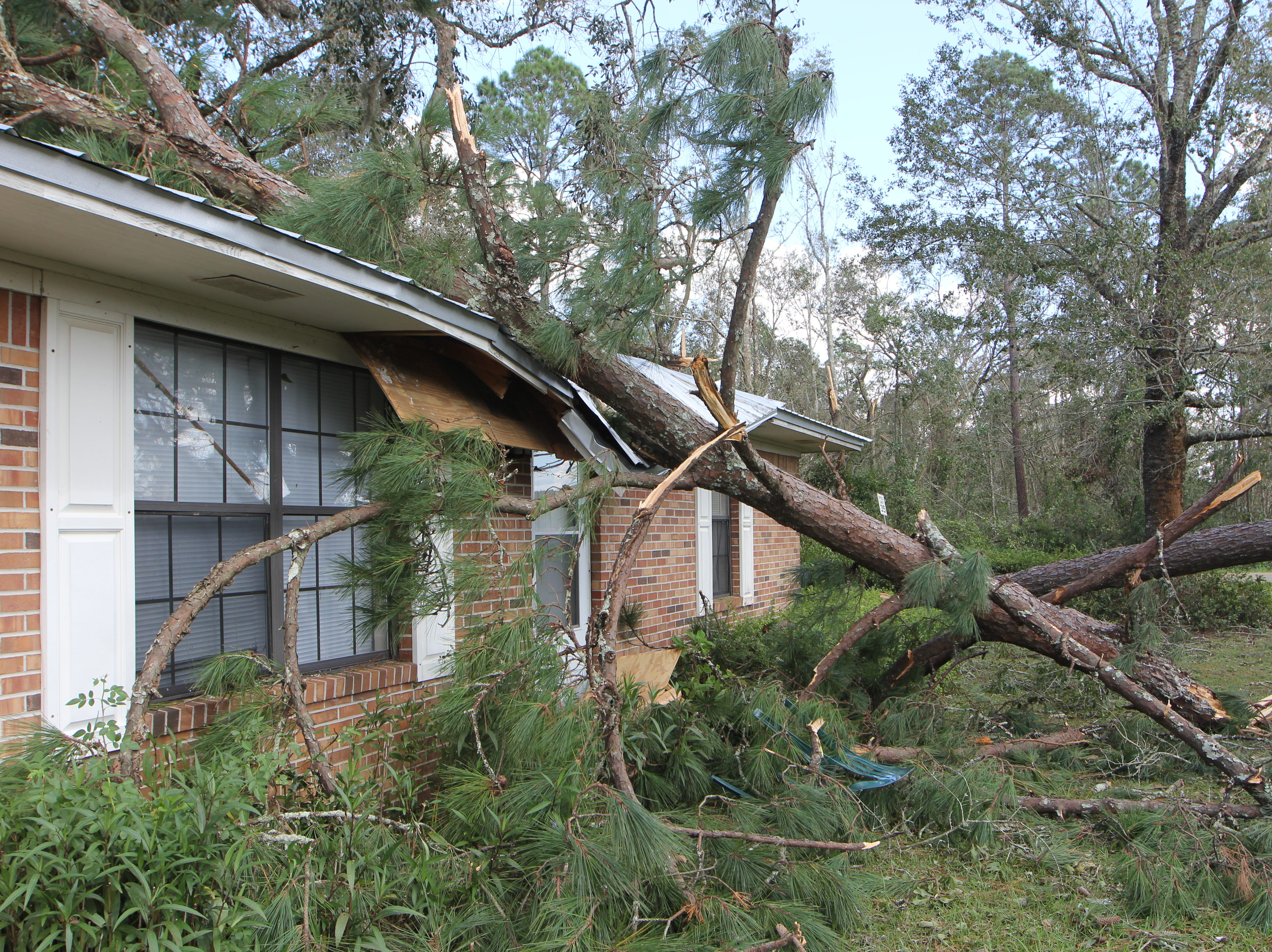 A tree fell on a house during Hurricane Michael in Gadsden County.