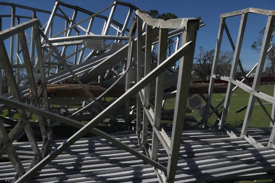 Blountstown High School's football field is in ruins in the aftermath of Hurricane Michael.