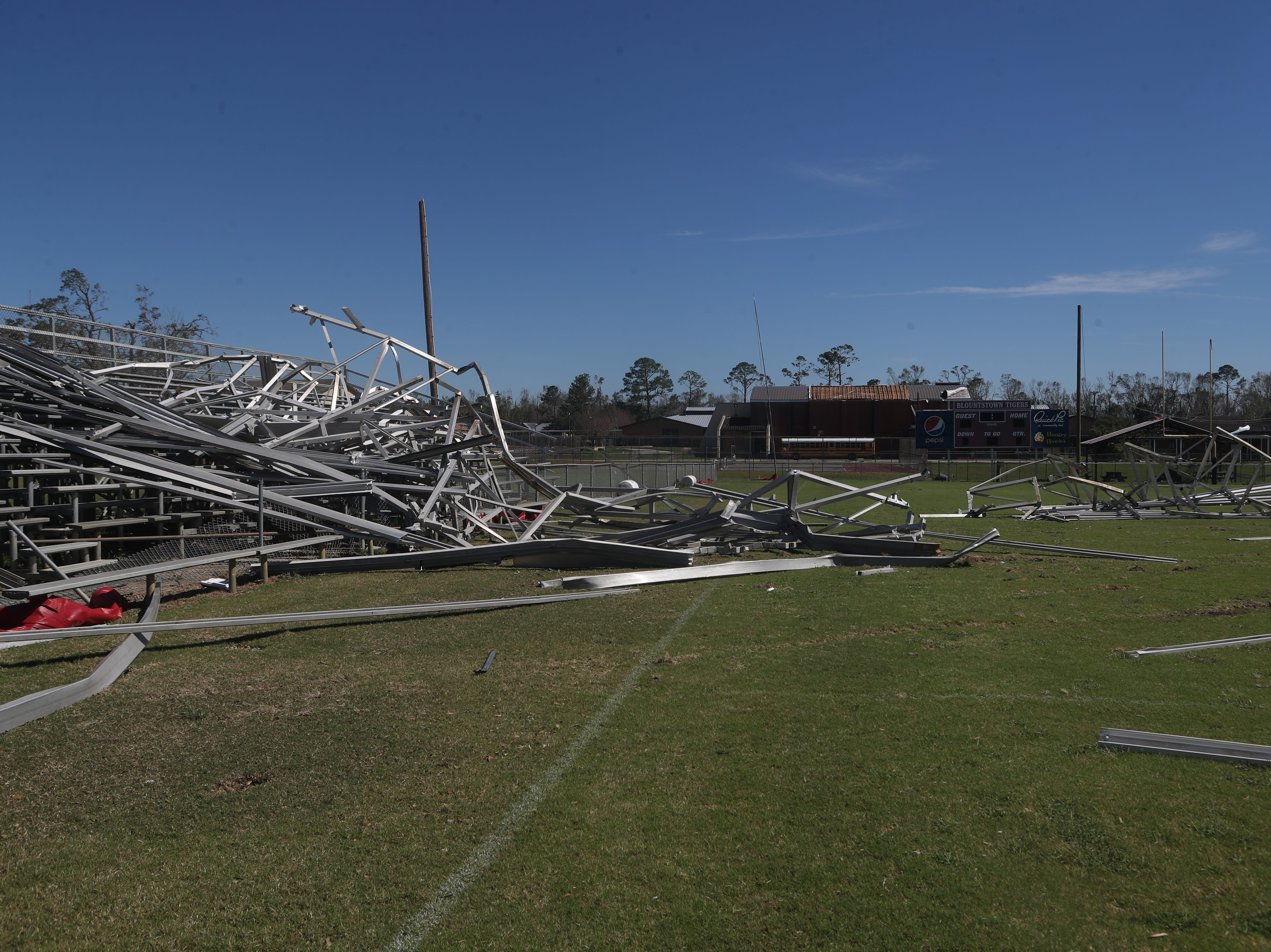 The Blountstown high school football field is in ruins in the aftermath of Hurricane Michael Friday, Oct. 12, 2018.