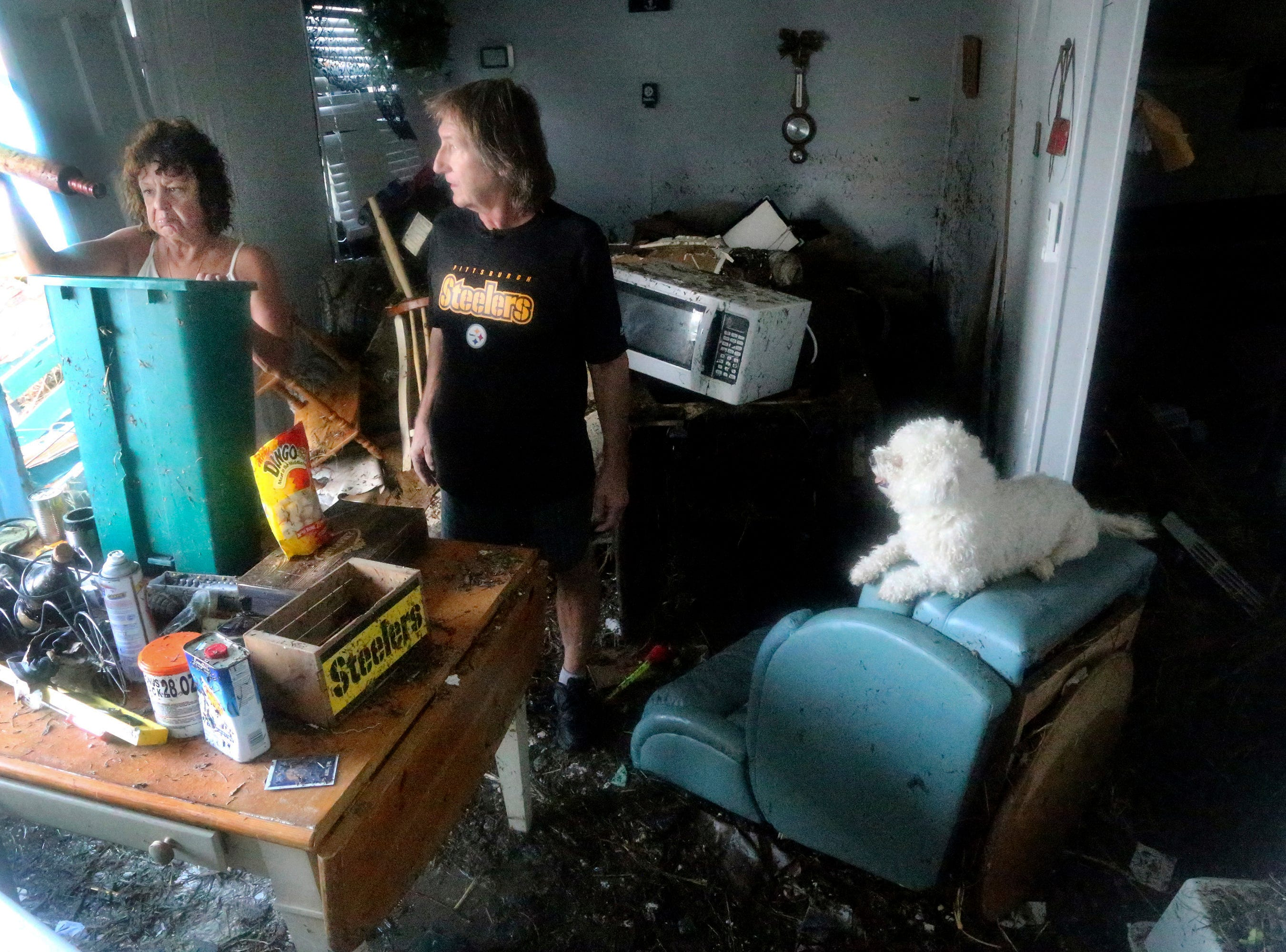 Cindy Murphy, 58, left, finds a rolling pin while searching for her husband James Murphy's medication on Thursday, Oct. 11, 2018, in what remains of their home on a coastal stretch of Port St. Joe, Fla. The couple's dog, J.J., at right, survived, but they have been unable to locate their cat. Cindy was surprised to find the rolling pin, which did not belong to her and was among dozens of items from others homes which were displaced by Hurricane Michael's violent storm surge and wind as it made landfall on Wednesday in the Florida Panhandle. (Douglas R. Clifford/Tampa Bay Times via AP)