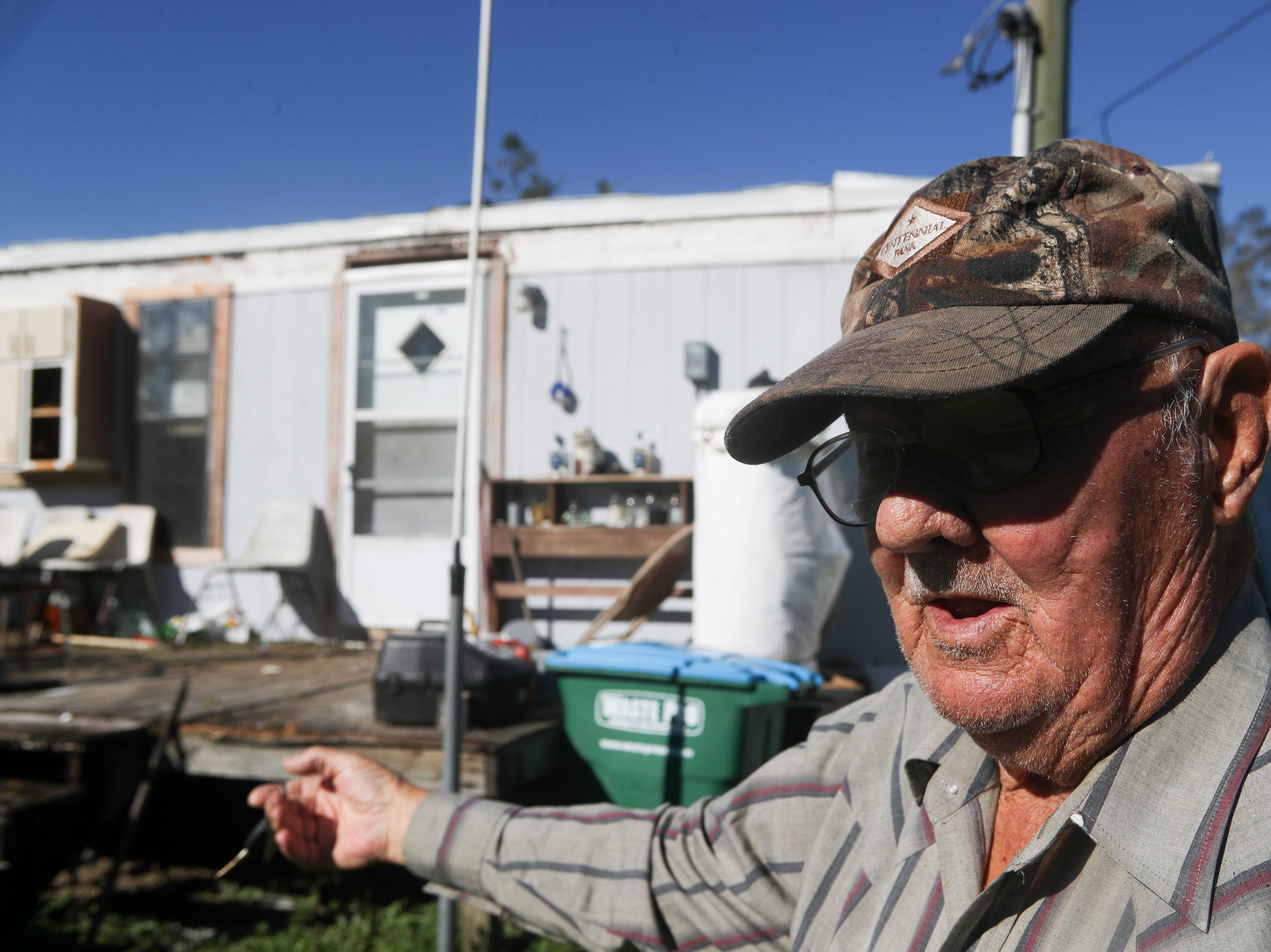 """""""I was scared to leave, scared to stay,"""" said Jim Tom Reddick as he reflects on riding out the storm that took off the metal roof he built over his mobile home in Bristol, Fla. in the aftermath of Hurricane Michael Friday, Oct. 12, 2018."""