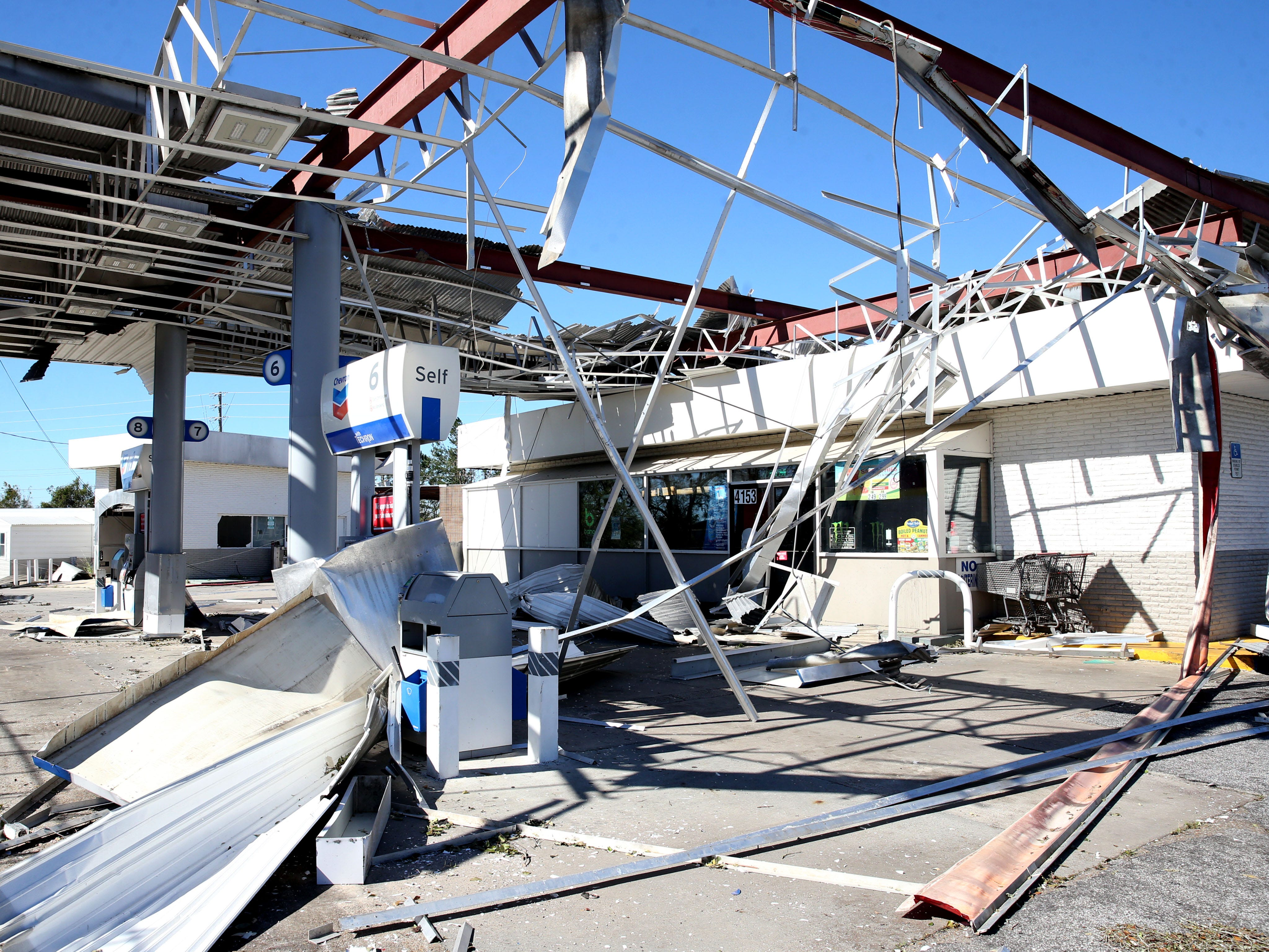 At the Big Little gas station in Marianna, Fla. on Friday, Oct. 12, 2018, the station was torn to shreds after Hurricane Michael rips through the panhandle.