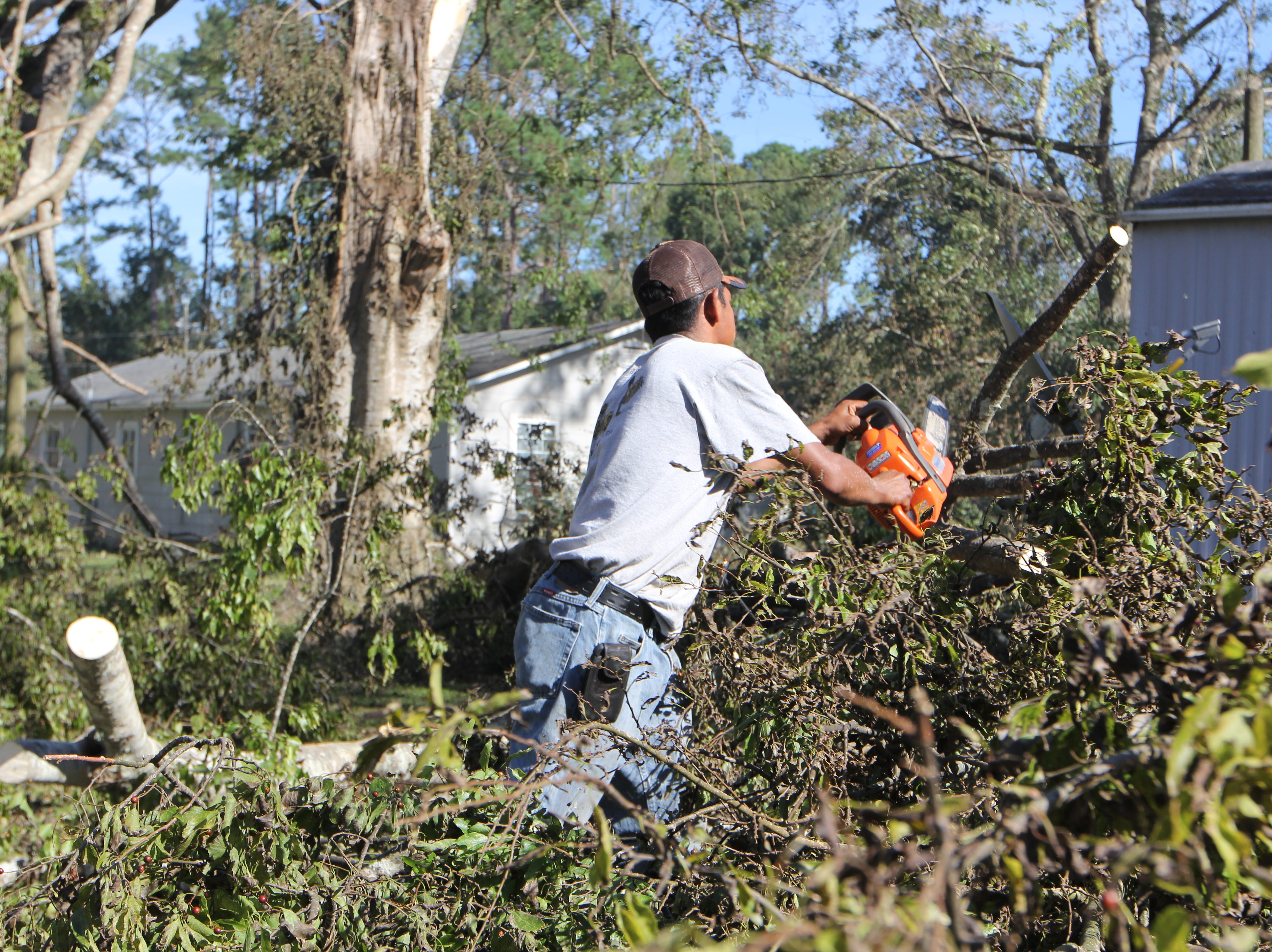 "Jose Guerra, a Greensboro resident in Gadsden County, takes a chainsaw to fallen trees in front of his mobile home following Hurricane Michael on Friday, Oct. 12, 2018. A roofing worker, ""I'll do the work,"" he said."