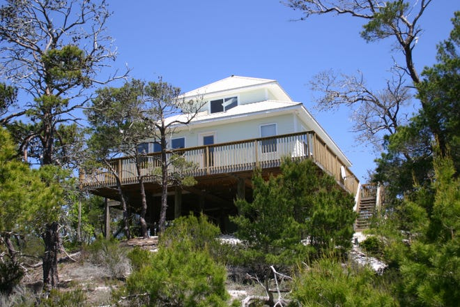 """Cat-5"" home at 813 Gulf Shore Drive on Dog Island built by USF professor Bradlee Shanks survived Hurricane Michael."