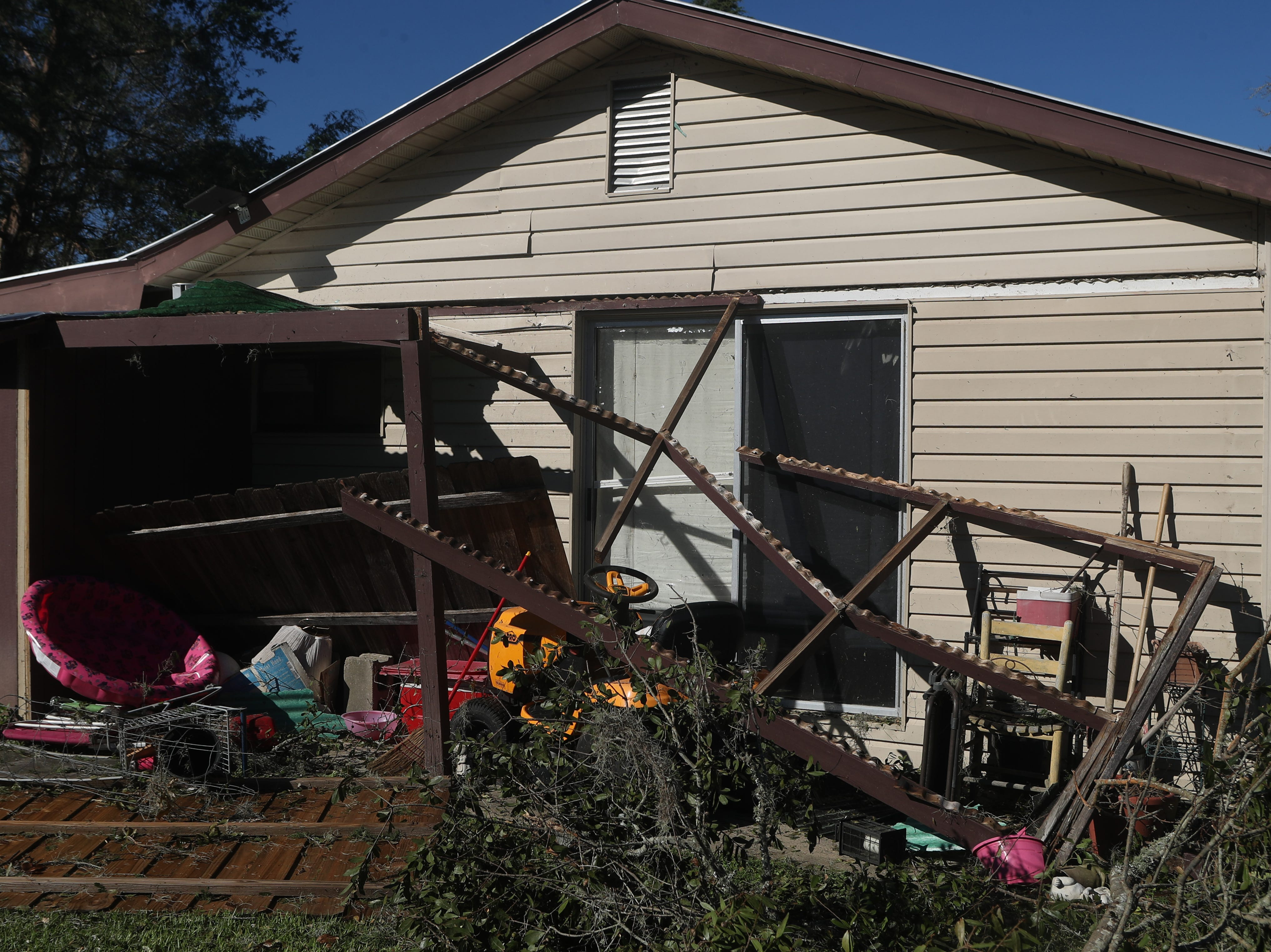 Damage is widespread in Bristol, Fla. and the surrounding Liberty County in the aftermath of Hurricane Michael Friday, Oct. 12, 2018.