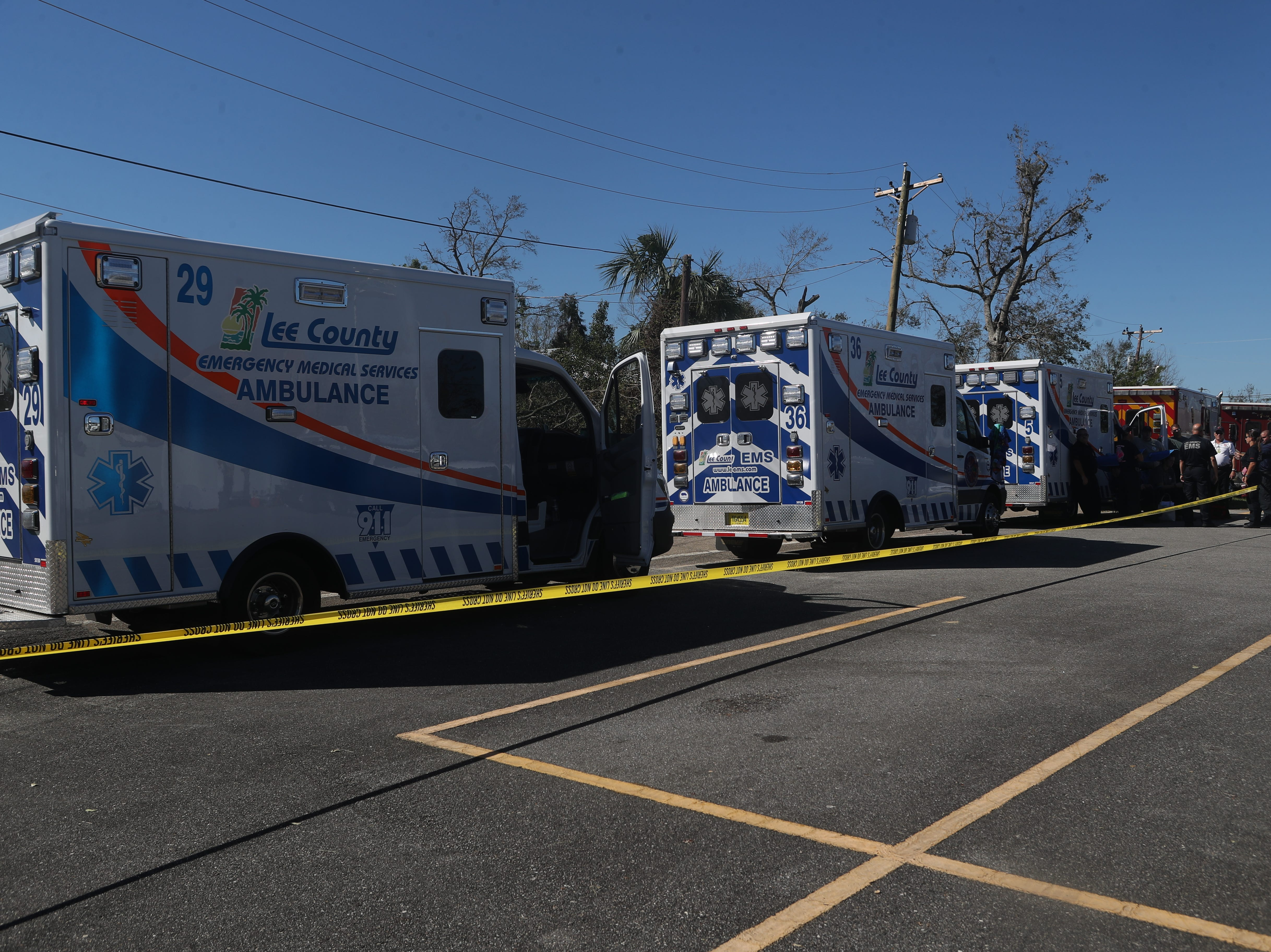 Emergency response teams stage at the Calhoun County Courthouse in Blountstown, Fla. in the aftermath of Hurricane Michael Friday, Oct. 12, 2018.