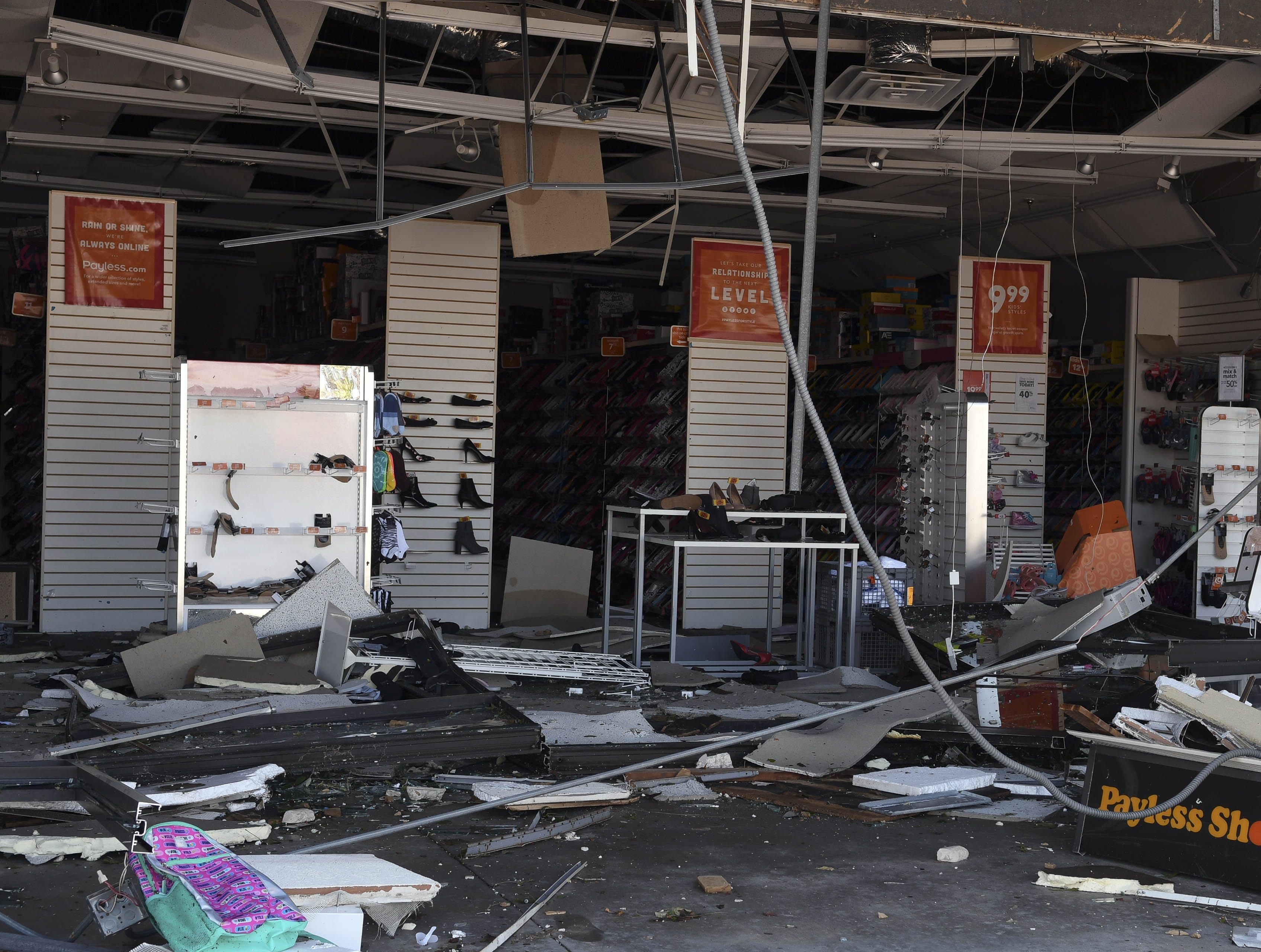 The Payless Shoe Source storefront in the Panama City Square shopping center was completely gutted by Hurricane Michael.