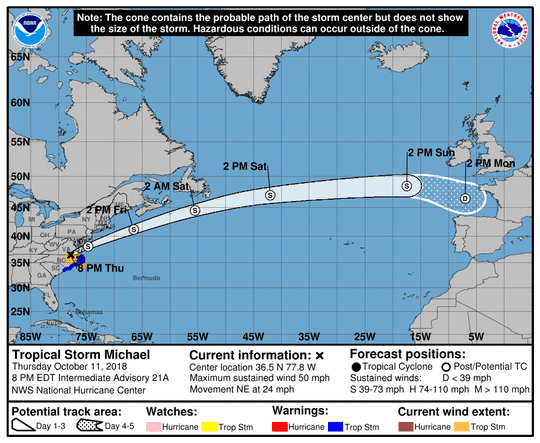 Projected path of Tropical Storm Michael as of 11 p.m. Thursday, Oct. 11, 2018.