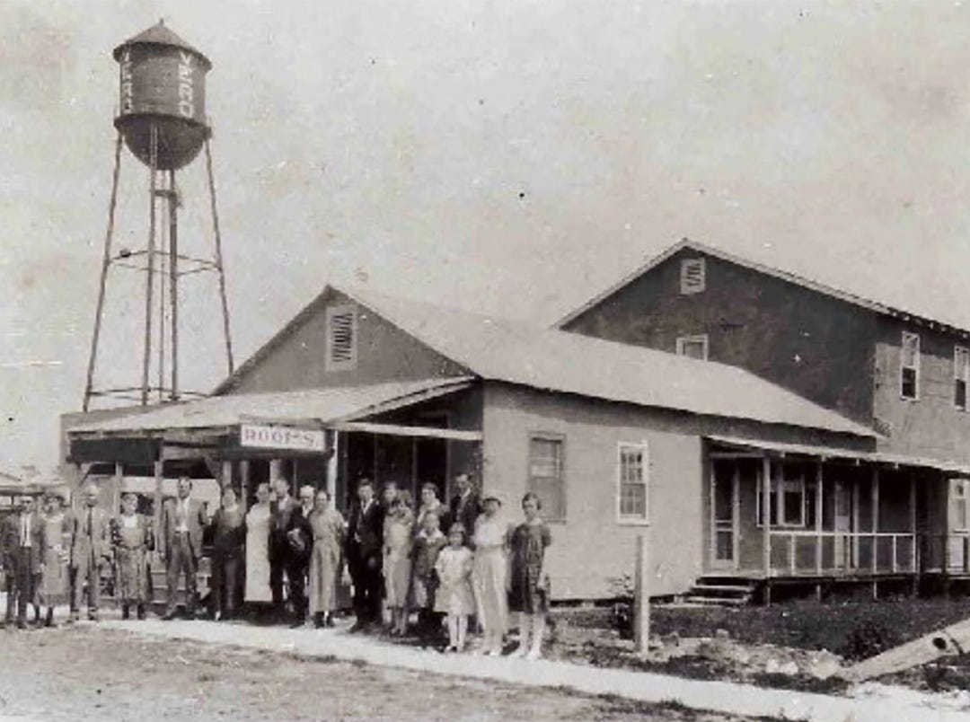 When prospective land buyers visited Vero, they needed lodging. Twitchell's Pool Hall on 20th Street in downtown Vero was the first commercial establishment erected, with rooms to let over the pool hall. This picture was thought to be taken sometime between 1912-1920.