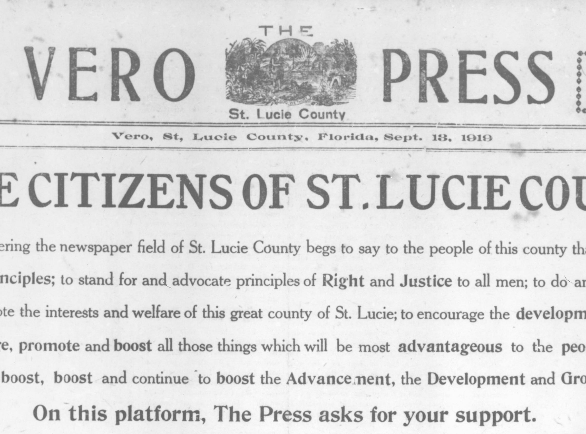 The masthead of The Vero Press on Sept. 13, 1919, addresses the residents of St. Lucie County, which Vero Beach was a part of at that time.