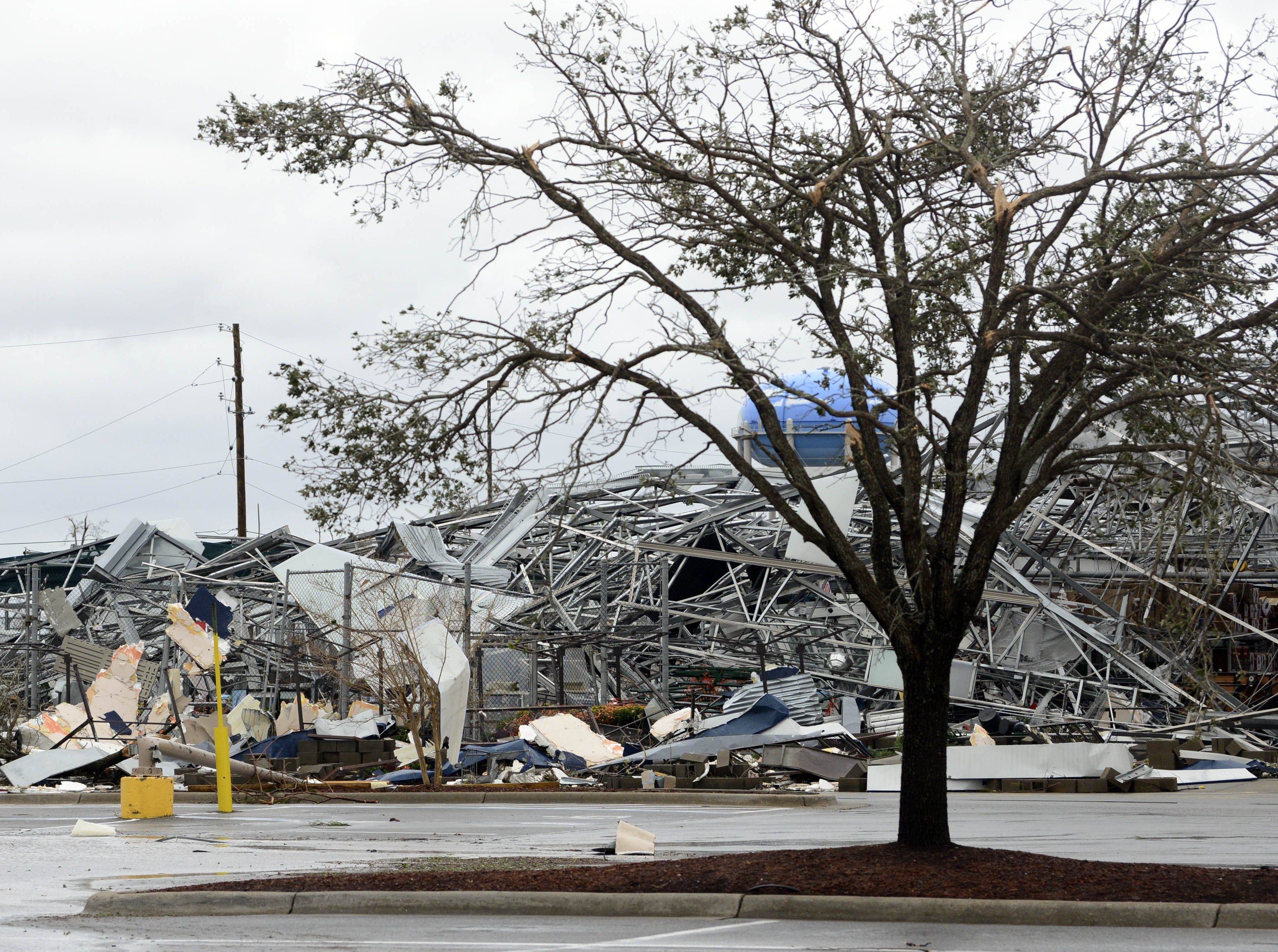 The garden center of the Lowes on 23rd Street in Panama City FL was leveled by Hurricane Michael.