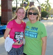 Kellie Peitersen Sullivan, left, and Anette Gosselin, New Horizons chief financial officer, at the Race for Recovery 5K Run/Walk at Mets Stadium/First Data Field.