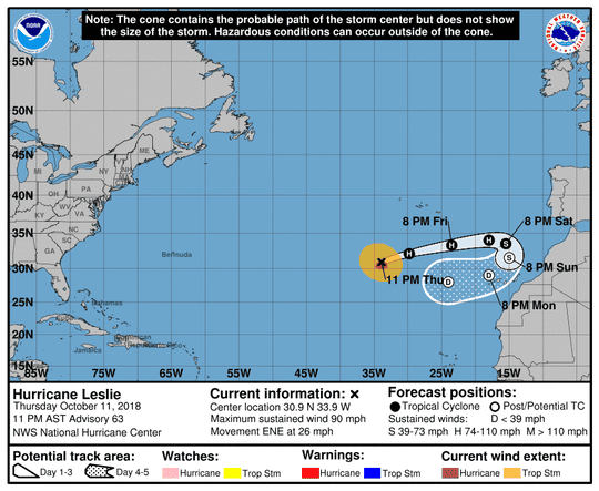 Projected path of Hurricane Leslie as of 11 p.m. Thursday, Oct. 11, 2018.