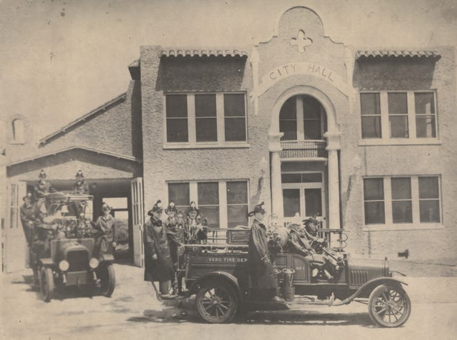 The first fire station in Vero Beach, circa 1928. The station was on the northeast corner of 13th Avenue and State Road 60, adjacent to City Hall. The volunteer force is in full attire. Included in photo are Paul Beindorf, Charlie Tool, Harold Redstone, and Slim Stansberry.