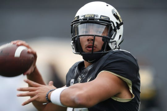 Colorado Buffaloes quarterback Steven Montez (12) in the first half of an NCAA college football game Saturday, Oct. 6, 2018, in Boulder, Colo.