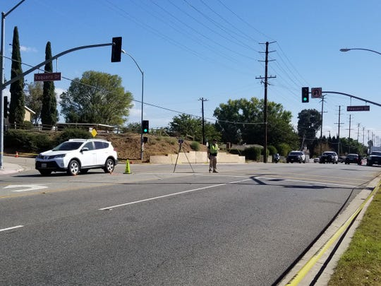 Portions of Royal Avenue at Vaquero Drive in Simi Valley were closed Friday morning as investigators looked into a crash involving a car and a crossing guard.