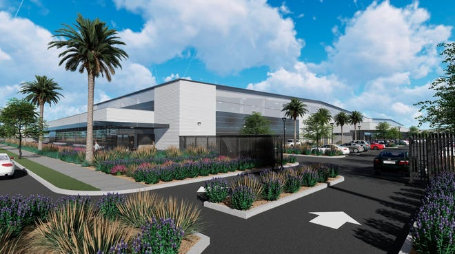This is an architectural rendering of CloudNine at Camarillo, a complex of private jet hangars proposed for construction at the Camarillo Airport.
