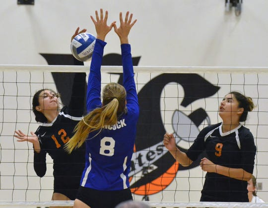 Ventura College freshman Shantalle Ruiz attacks a set during the Pirates' sweep of Hancock on Wednesday.