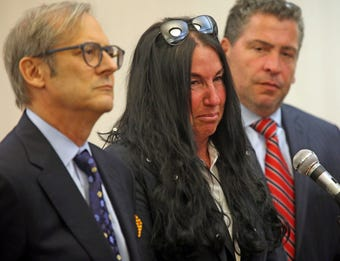 Jodi Sarf is overcome with emotion as she gives her statement during sentencing at Clarkstown Justice Court in New City Oct. 12, 2018.