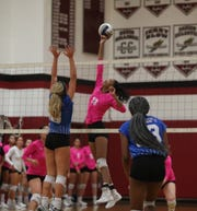 Nyack's Miah Barrow (13) puts up a shot during their 3-0 loss to Hen Hud in girls volleyball action at Nyack High School on Friday, October 12, 2018.