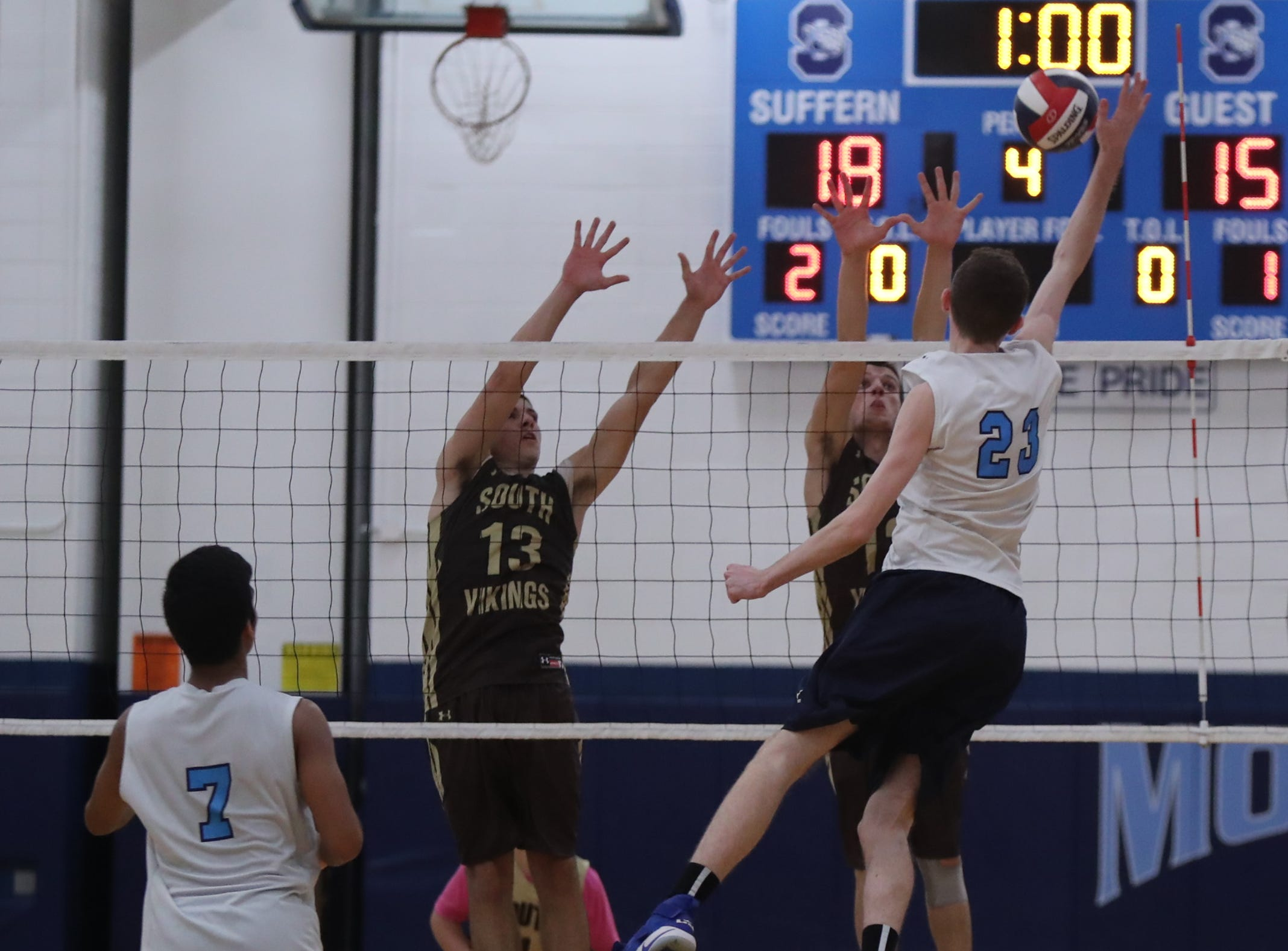 Suffern's Aidan Anderson (23) puts a shot over the net during their 3-1 win over  Clarkstown South in boys volleyball action at Suffern High School in Suffern on Thursday, October 11, 2018.