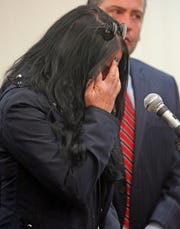 Jodi Sarf is overcome with emotion as she gives her statement during sentencing at Clarkstown justice court in New City Oct. 12, 2018. Sarf was involved in a fatal hit and run last year with an Ecuaudoran native named Manuel Aguaiza.