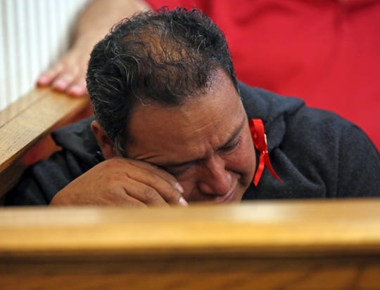 Juan Duy is overcome with emotion as he listens to how his cousin Manuel Aguaiza died during the sentencing hearing for Jodi Sarf at Clarkstown justice court in New City Oct. 12, 2018.