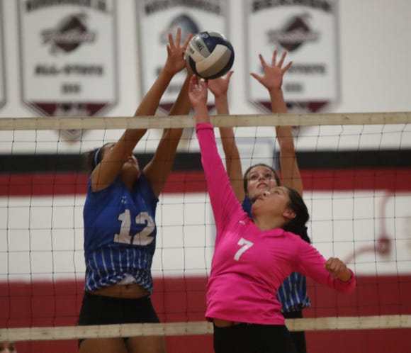 Hen Hud defeats Nyack 3-0 in girls volleyball action at Nyack High School on Friday, October 12, 2018.