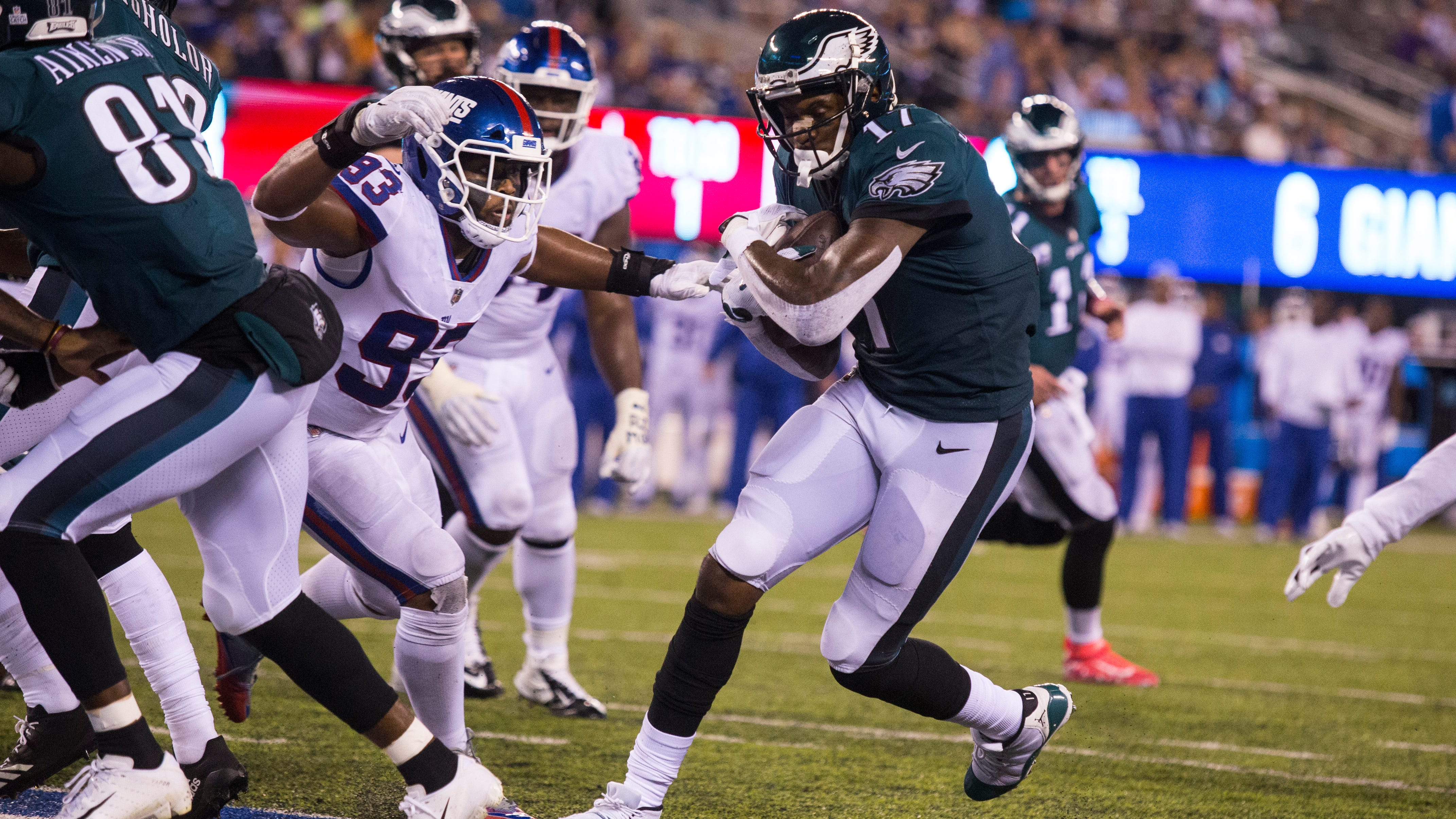 The Philadelphia Eagles easily defeated the New York Giants on Thursday night, but injuries keep mounting for the defending Super Bowl champions.